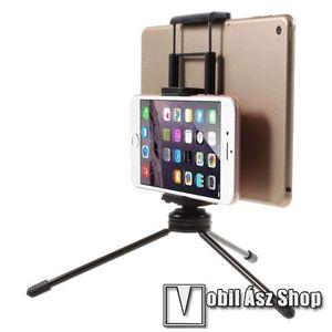 """UNIVERZÁLIS asztali tartó / TRIPOD fotó állvány - 57-87 mm-es bölcsővel telefonokhoz, 112-192 mm-es bölcsővel tabletekhez, 360 fokban forgatható, univerzális 1/4""""-es csatlakozó - FEKETE kép"""