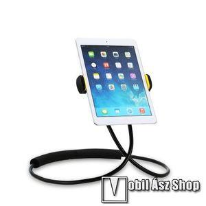 """REMAX UNIVERZÁLIS nyakba akasztható tartó / asztali tartó állvány - 360°-ban forgatható, állítható, flexibilis kar, asztali tartó - 4-10""""-os készülékhez - FEKETE - RM-C27 - GYÁRI kép"""