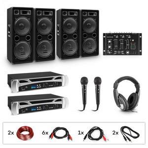 Electronic-Star eStar Bass-Party, DJ rendszer, szett, 2 x PA erősítő, DJ mixer keverő pult, 4 x subwoofer, fejhallgató kép