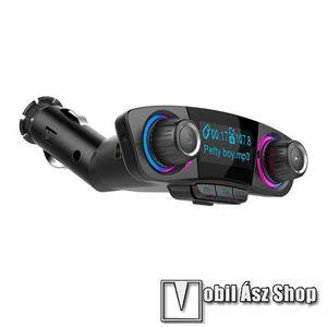 BLUETOOTH kihangosító szett - szivartöltőbe tehető, FM transmitterrel csatlakozik autórádióra, LED kijelző, EXTRA USB töltő aljzat, memóriakártya olvasó, 3, 5mm jack alzat - FEKETE kép