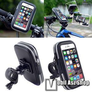 UNIVERZÁLIS biciklis / kerékpáros tartó konzol mobiltelefon készülékekhez - 152 x 75 mm-es bölcső, cseppálló védő tokos kialakítás - FEKETE kép