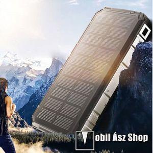 NAPELEMES hordozható töltő / vésztöltő - 20000mAh belső akku, 1 x 5V/1000mAh és 1 x 5V/2000mAh kiemenet, 1.5W naptöltés, csepp és porálló kivitel - FEKETE kép