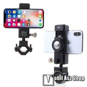 UNIVERZÁLIS telefon tartó kerékpár / bicikli - FEKETE - elforgatható, iránytű, LED-es lámpával - 50-90 mm-ig nyíló bölcsővel kép