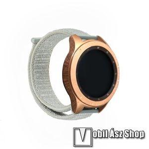 Okosóra szíj - szövet, tépőzáras - SZÜRKE - 195mm hosszú, 20mm széles - SAMSUNG Galaxy Watch 42mm / Xiaomi Amazfit GTS / SAMSUNG Gear S2 / HUAWEI Watch GT 2 42mm / Galaxy Watch Active / Active 2 kép