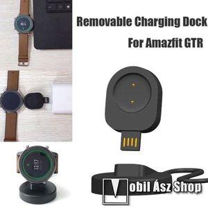 Okosóra töltő - USB mágneses töltő dokkoló, mini - Xiaomi Amazfit GTR 42mm (1909), Xiaomi Amazfit GTR 47mm (1901) - FEKETE kép