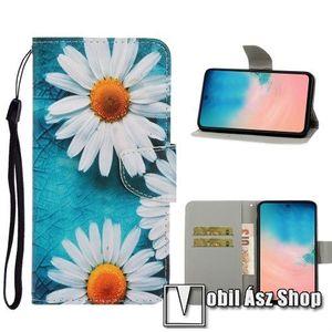 Notesz / mappa tok - VIRÁG MINTÁS - oldalra nyíló, rejtett mágneses záródás, belső zseb, asztali tartó funkció, szilikon belső - SAMSUNG Galaxy A71 (SM-A715F) kép