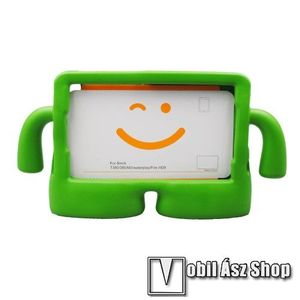 """UNIVERZÁLIS 3D tablet PC habszivacs védő keret - asztali tartó funkciós, fogantyú, ERŐS VÉDELEM! 8""""-os készülékekhez - ZÖLD kép"""