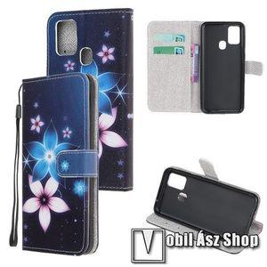 Notesz / mappa tok - VIRÁG MINTÁS - oldalra nyíló, rejtett mágneses záródás, belső zseb, asztali tartó funkció, szilikon belső - SAMSUNG Galaxy A21s (SM-A217F/DS) kép