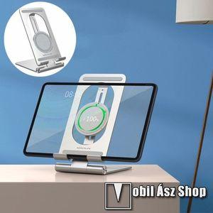 NILLKIN PowerHold UNIVERZÁLIS asztali töltő / alumínium állvány - EZÜST - QI Wireless vezetéknélküli töltő funkció, 15W (max), állítható - GYÁRI kép