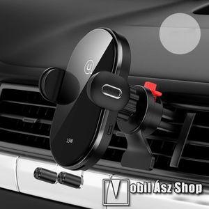 """USAMS US-CD132 gravity univerzális gépkocsi / autós tartó - FEKETE - szellőzőrácsra rögzíthető, elforgatható, QI wireless vezetéknélküli funkció, 15W, 4, 7-6, 5""""-os készülékekhez, fogadóegység nélkül! - GYÁRI kép"""