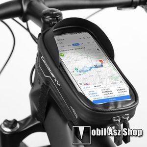 """UNIVERZÁLIS biciklis / kerékpáros tartó konzol mobiltelefon készülékekhez - cseppálló védő tokos kialakítás, kormányra rögzíthető, cipzár, 6, 5"""" készülékekig - FEKETE kép"""