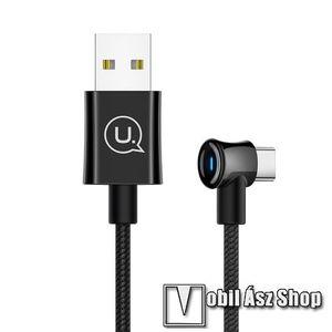 USAMS adatátvitel adatkábel és töltő - USB Type-C, 120 cm hosszú, 90 fokos / derékszög, LED fény - FEKETE - GYÁRI kép