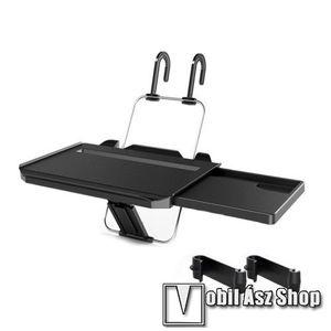 UNIVERZÁLIS összecsukható étkezőasztal / laptop tartó autóba - kihúzható fiókkal, pohártartó, 340 x 300 x 40mm - FEKETE kép