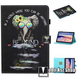 Notesz tok / mappa tok - ELEFÁNT MINTÁS - asztali tartó funkciós, oldalra nyíló, rejtett mágneses záródás, bankkártyatartó zsebekkel, szilikon belső - HUAWEI MediaPad T5 10 kép