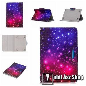 """UNIVERZÁLIS notesz / mappa tablet PC tok - GALAXIS MINTÁS - álló, bőr, mágneses, asztali tartó funkciós, 8"""" készülékekhez kép"""