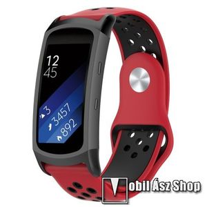 Okosóra szíj - légáteresztő, sportoláshoz, szilikon - PIROS / FEKETE - 95mm + 100mm hosszú, 18mm széles - SAMSUNG Gear Fit 2 SM-R360 / Samsung Gear Fit 2 Pro SM-R365 kép