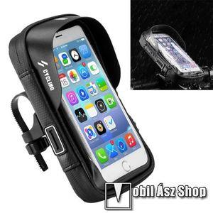 """UNIVERZÁLIS biciklis / kerékpáros tartó konzol mobiltelefon készülékekhez - cseppálló védő tokos kialakítás, kormányra rögzíthető, cipzár, fülhallgató nyílás, 6"""" készülékekhez - FEKETE - 194 x 125 x 70mm kép"""