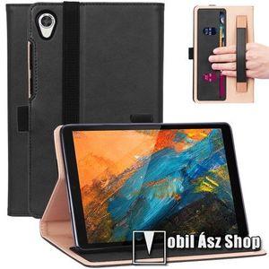 Notesz tok / mappa tok - FEKETE - asztali tartó funkciós, oldalra nyíló, bankkártya tartó, csuklópánt, tolltartó, gumis záródás, műbőr belső - FEKETE - Lenovo Tab M8 (FHD) / Lenovo Tab M8 (HD) (TB-8505) kép