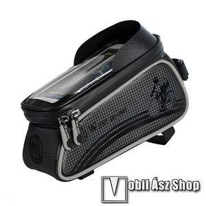 """UNIVERZÁLIS biciklis / kerékpáros tartó konzol mobiltelefon készülékekhez - cseppálló védő tokos kialakítás, cipzár, kormányra / vázra rögzíthető, 200 x 82 x 103mm, 6""""-os készülékekhez - SZÜRKE kép"""