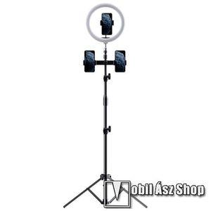 ROCK UNIVERZÁLIS telefon tartó tripod állvány - egyszerre 3 készülékkel használható, LED körfény, állítható színhőmérséklet, Bluetooth távirányítóval, 360°-ban forgatható, 55–85 mm-ig nyíló bölcső, 97-1712mm-ig állítható magasság - FEKETE - GYÁRI kép