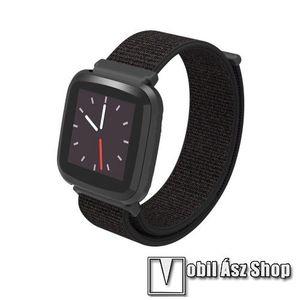 Okosóra szíj - szövet, tépőzáras - FEKETE - 23mm széles - Fitbit Versa / Fitbit Versa Lite / Fitbit Versa 2 kép