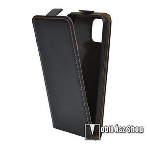 SLIM FLIP tok - FEKETE - lefelé nyíló, rejtett mágneses záródás, szilikon belső - APPLE iPhone 11 Pro kép