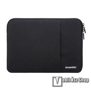 """HAWEEL Tablet / Laptop UNIVERZÁLIS tok / táska - FEKETE - Szövet, bársony belső, 2 különálló zsebbel, ütődésálló, vízálló - ERŐS VÉDELEM! - 13""""-os készülékekig használható, Külső méret: 350 x 240 x 20mm, Belső méret: 340 x 230 x 20mm kép"""
