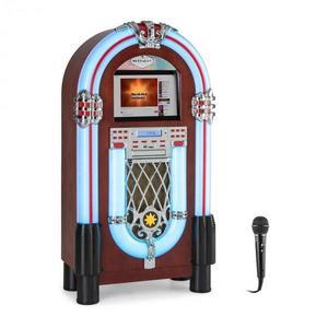 """Auna Graceland Touch, jukebox, 12"""" érintőképernyő, WLAN, CD, BT, mikrofon, fa megjelenés kép"""