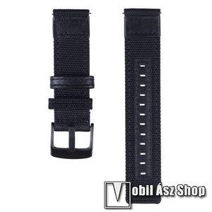 Okosóra szíj - szövet / valódi bőr, 85mm + 100mm hosszú, 21mm széles - FEKETE - SAMSUNG Galaxy Watch 46mm / SAMSUNG Gear S3 Classic / SAMSUNG Gear S3 Frontier kép