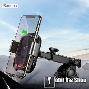 BASEUS univerzális autós / gépkocsi tartó - tapadókorongos, szélvédőre vagy műszerfalra rögzíthető, infravörös érzékelő automatikusan nyit és zár - QI wireless vezetéknélküli funkció, bemenet 5V/2A, 9V/1.67A, fogadóegység nélkül! - FEKETE - GYÁRI kép