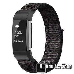 Okosóra szíj - szövet, tépőzáras - FEKETE - Fitbit Charge 3 / Fitbit Charge 3 SE / Fitbit Charge 4 kép