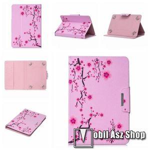"""UNIVERZÁLIS notesz / mappa tablet PC tok - VIRÁGZÓ FA MINTÁS - álló, bőr, mágneses, asztali tartó funkciós, 10"""" készülékekhez kép"""