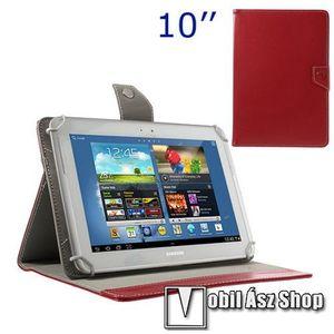 """UNIVERZÁLIS notesz / mappa tablet PC tok - PIROS - álló, bőr, mágneses, asztali tartó funkciós, 10"""" készülékekhez - 150-175 - 240-267 mm-ig állítható befogó keret kép"""