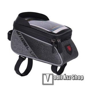 """UNIVERZÁLIS biciklis / kerékpáros tartó konzol mobiltelefon készülékekhez - cseppálló védő tokos kialakítás, cipzár, 6"""" készülékekhez - FEKETE kép"""