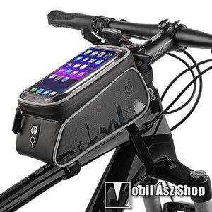 """UNIVERZÁLIS biciklis / kerékpáros tartó konzol mobiltelefon készülékekhez - fényvisszaverő pánt, cseppálló védő tokos kialakítás, tépőzár, fülhallgató nyílás, cipzár, 6"""" készülékekhez - FEKETE kép"""