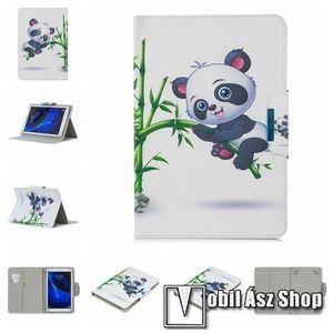 """UNIVERZÁLIS notesz / mappa tablet PC tok - PANDA / BAMBUSZ MINTÁS - álló, bőr, mágneses, bankkártya tartó, asztali tartó funkciós, 10""""-os készülékekhez kép"""