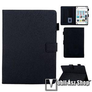 """UNIVERZÁLIS notesz / mappa tablet PC tok - FEKETE - álló, bőr, rejtett mágneses záródás, bankkártyatartó zsebek, asztali tartó funkciós, ceruzatartó, 8""""-os készülékekhez kép"""