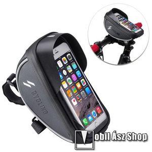 UNIVERZÁLIS biciklis / kerékpáros tartó konzol mobiltelefon készülékekhez - cseppálló védő tokos kialakítás, cipzár, kormányra rögzíthető, 105 x 175 x 95mm - FEKETE kép