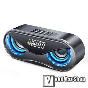 Hordozható bluetooth hangszóró - BAGOLY DESIGN - 10W, 75dB, beépített 2500mAh akkumulátor, 3.5mm AUX, USB, FM rádió, memóriakártya olvasás, ébresztő óra - FEKETE - 175 x 70 x 55mm kép