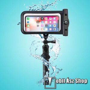 Teleszkópos selfie bot / vízhatlan / vízálló tok - iránytű, nyakpánt, BLUETOOTH KIOLDÓ GOMB, forgatható, IPX8 20 méterig vízálló, A TÁVIRÁNYÍTÓ NEM VÍZÁLLÓ, 160 x 80mm - FEKETE kép