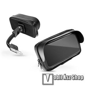 """UNIVERZÁLIS motoros telefon tartó - 360°-ban forgatható, 5, 5-6, 3""""-os készülékekhez, cipzáras bölcsővel, por- és cseppálló, napellenző - FEKETE kép"""