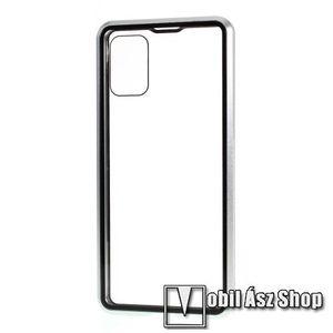 Alumínium védő keret / hátlap - 360°-os védelem, alumínium védő keret, mágneses előlap + hátlap keret, előlap + hátlap védő edzett üveggel - EZÜST - SAMSUNG SM-A715F Galaxy A71 kép