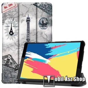 Notesz / mappa tok - oldalra nyíló flip cover, TRIFOLD asztali tartó funkció, mágneses záródás, műanyag belső - EIFFEL TORONY MINTÁS - Lenovo Tab M8 (FHD) / Lenovo Tab M8 (HD) (TB-8505) kép