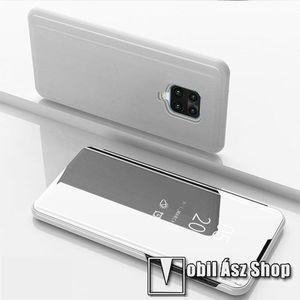 Notesz / flip tok - EZÜST - oldalra nyíló áttetsző tükrös flip cover, asztali tartó funkció, műanyag belső - Xiaomi Redmi Note 9S / Redmi Note 9 Pro / Redmi Note 9 Pro Max / Poco M2 Pro kép