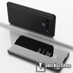 Notesz / flip tok - FEKETE - oldalra nyíló áttetsző tükrös flip cover, asztali tartó funkció, műanyag belső - LG K61 kép