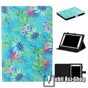 """UNIVERZÁLIS notesz / mappa tablet PC tok - VIRÁG MINTÁS - álló, bőr, mágneses, asztali tartó funkciós, 10""""-os készülékekhez - Belső méret: 245 x 170 x 20mm kép"""