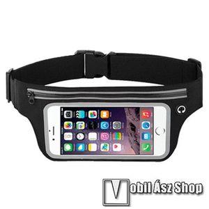 """UNIVERZÁLIS ÖVTÁSKA - FEKETE - állítható pánt, ultravékony, vízálló, cipzár, fülhallgató nyílás - max. 6, 5""""-os készülékekhez kép"""