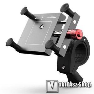 UNIVERZÁLIS biciklis / motoros tartó konzol mobiltelefon készülékekhez - FEKETE - alumínium, elforgatható, 67 ~ 117 mm-ig állítható bölcső kép