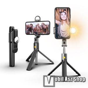 SELFIESHOW K10S UNIVERZÁLIS teleszkópos selfie bot és tripod állvány - BLUETOOTH KIOLDÓVAL, szelfi fénnyel, 360 fokban forgatható, 192 x 35 x 50 mm - FEKETE kép