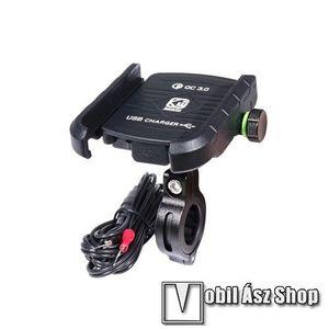 """UNIVERZÁLIS biciklis / motoros tartó konzol mobiltelefon készülékekhez - 360°-ban forgatható, kormányra rögzíthető, állítható bölcsővel, USB töltő aljzattal 1, 5m hosszú beépítő kábel, 5V/18W (max.), 3.5-7""""-os készülékekhez - FEKETE kép"""